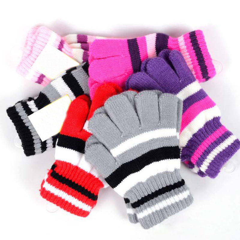 Children's mitten gloves cotton gloves striped autumn winter mittens children's knitted gloves girls boys kids warm glove