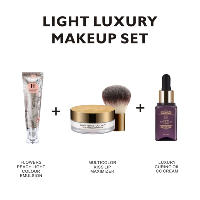 HENLICS Makeup Sets 3PCS Cosmetics Including Velvet Loose Powder with Brush plus Foundation CC Cream and Primer Makeup Tool Kits chanel 5ml cc cc cream