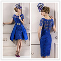 Blue Elegant Cocktail Dresses Sexy A Line Cocktail Dress Lace robe den cocktail Knee Length vestidos de coctel Short Prom Gowns