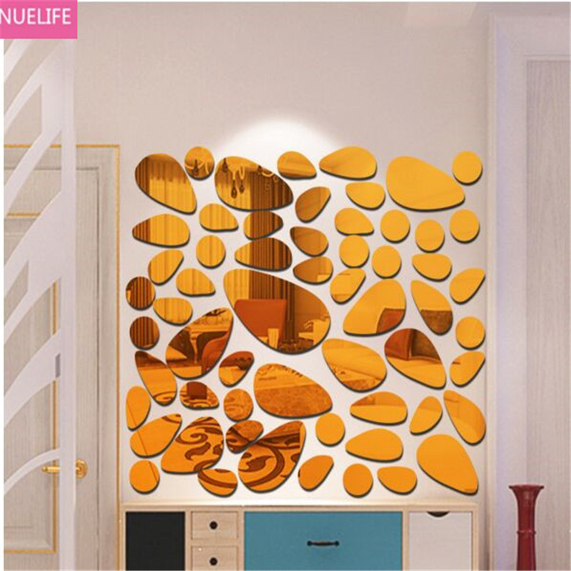 Oval pebble pattern mirror wall stickers bedside restaurant living room bedroom TV sofa background decorative wall stickers N5