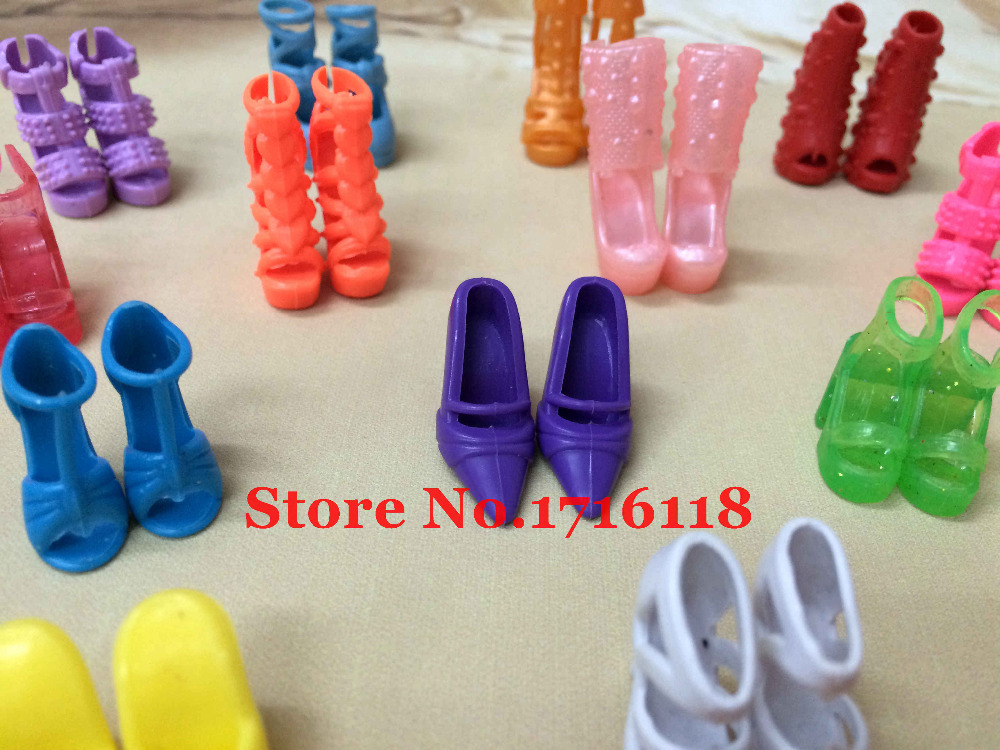 Randomly Picked 10 Pairs Colorful Assorted Fashion Colorful Doll Shoes Heels Sandals For Barbie Dolls Accessories Outfit Dress random 10 items   fashion 5 outfit   5