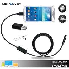 DBPOWER USB 2MP Endoscopio Android Móvil 8.5 MM Lente 2/5/10 M Serpiente Cámara de Inspección Impermeable Boroscopio para el Ordenador Portátil con OTG/UVC