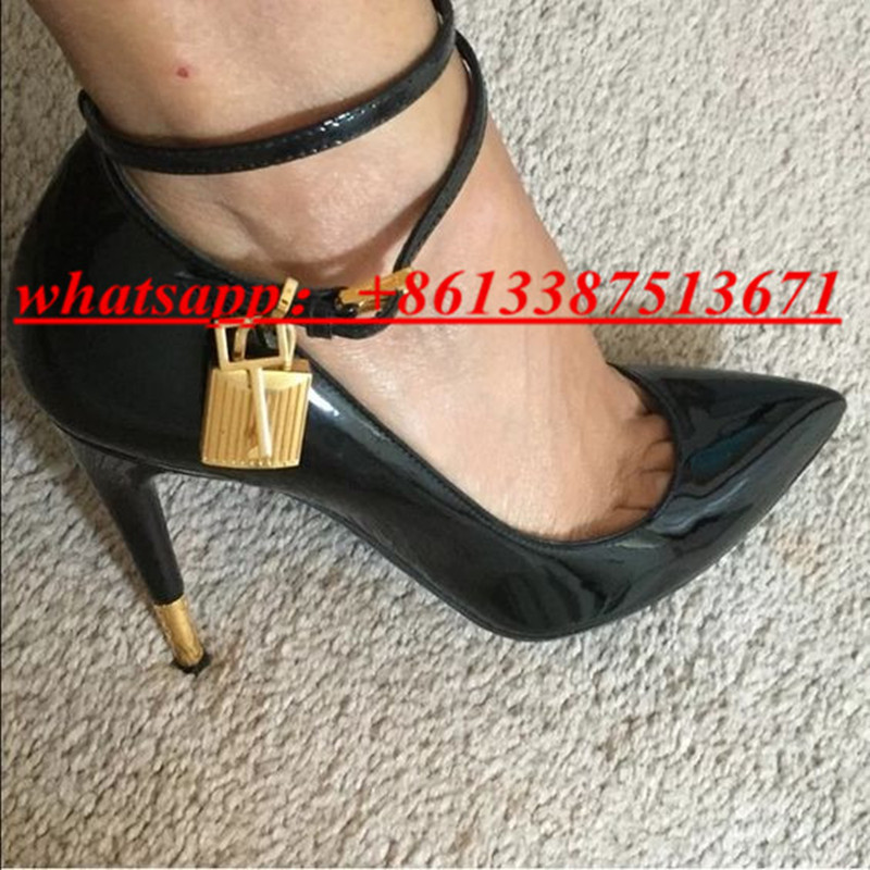 2017 New Fashion Gold Lock Ankle Strappy Women Pumps Pointed Toe Suede & Leather High Heel Pumps Wedding / Party Shoes Woman new fashion woman flats spring summer women shoes top quality strappy women sandals suede pointed toe gladiator ballet pumps