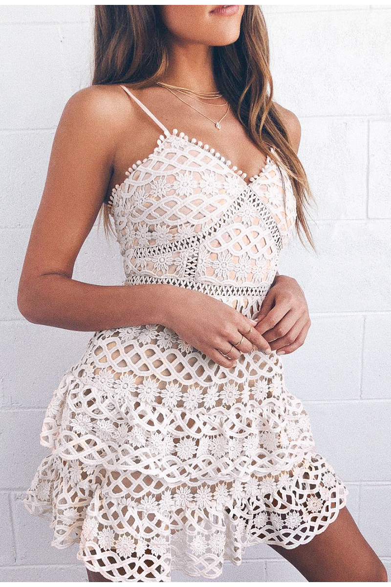 BerryGo Women white lace dress party spaghetti strap Embroidery ruffle sexy dress V-neck hollow out summer dresses ladies 19 2