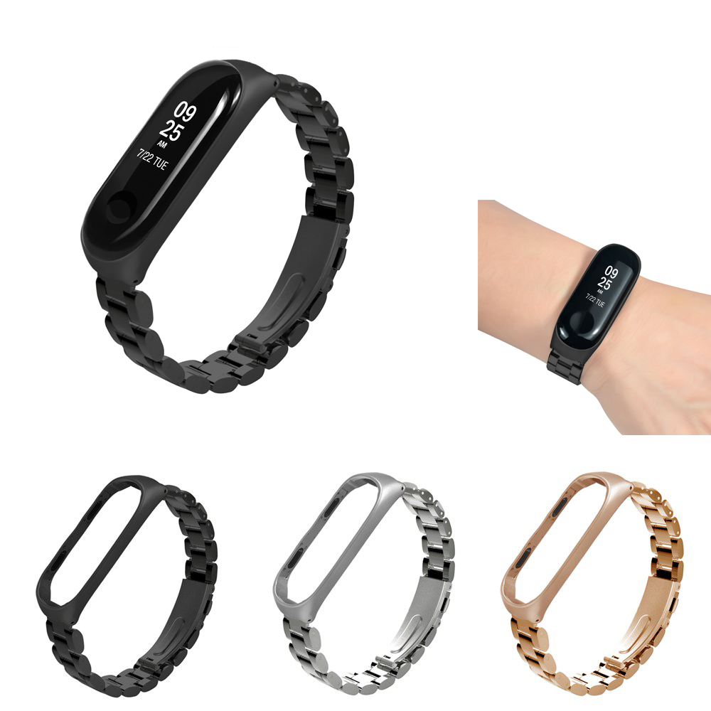 New Stainless steel loop Wrist Strap Band For Xiaomi Mi Band 3 Wrist bands Bracelet Watch Straps Metal Belt for Miband 3 strap sinobi lady s stainless steel band quartz wrist watch w 3 watch bands cases silver 1 x 626