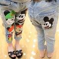 2016 New Mickey Crianças calças Jeans Primavera Verão Meninas jeans Bonito calças Meninos denim calças calças para meninas crianças denim calças de brim