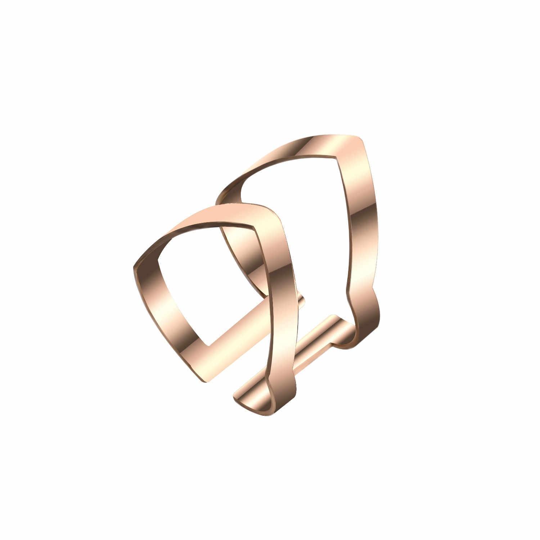 2018 nowe złote srebrny geometryczny kształt pierścienia regulowane otwarcie Wrap pierścienie z aksamitną torbą dla kobiet moda biżuteria Bijoux