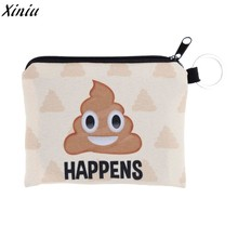 Cute Mini Wallet For Women Coin Purse Plush Cartoon Wink Printing Square Creative Face Kids Purses Coin Key Bag Canvas Money Bag(China)