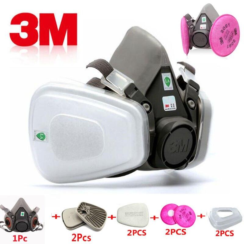 9 En 1 3 M 6200 industria de la mitad de la cara de pintura respirador de máscara de Gas de seguridad de protección de trabajo a prueba de polvo respirador máscara con filtro