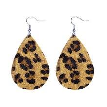 2018 Womens Jewelry Leather Leaf Teardrop Earrings Drop Leopard Print Ladies Party Gift P8