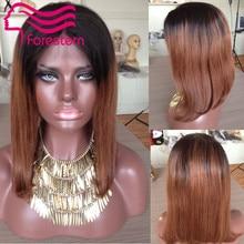 Bob Two Tone Ombre Lace Front Wigs Brazilian Virgin Bob Ombre Human Hair Wigs 130% Density Two Tone Full Lace Wigs For America
