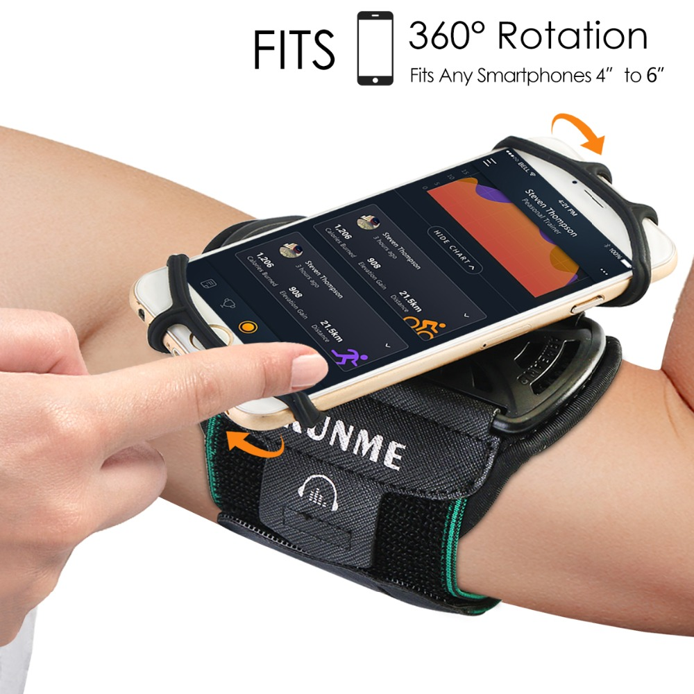 Running Armband Sports Phone Holder Arm Band Adjustable 360 Rotation Fit 4-6inch Phones With Key Holder Hiking Biking Jogging