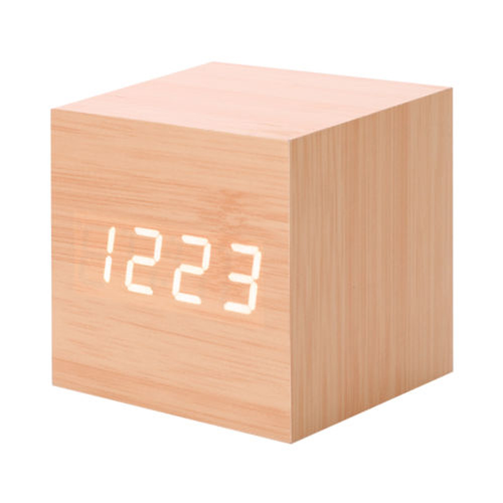 New Modern Wooden Wood Digital LED Desk Alarm Clock Thermometer Timer Calendar Free shipping F20