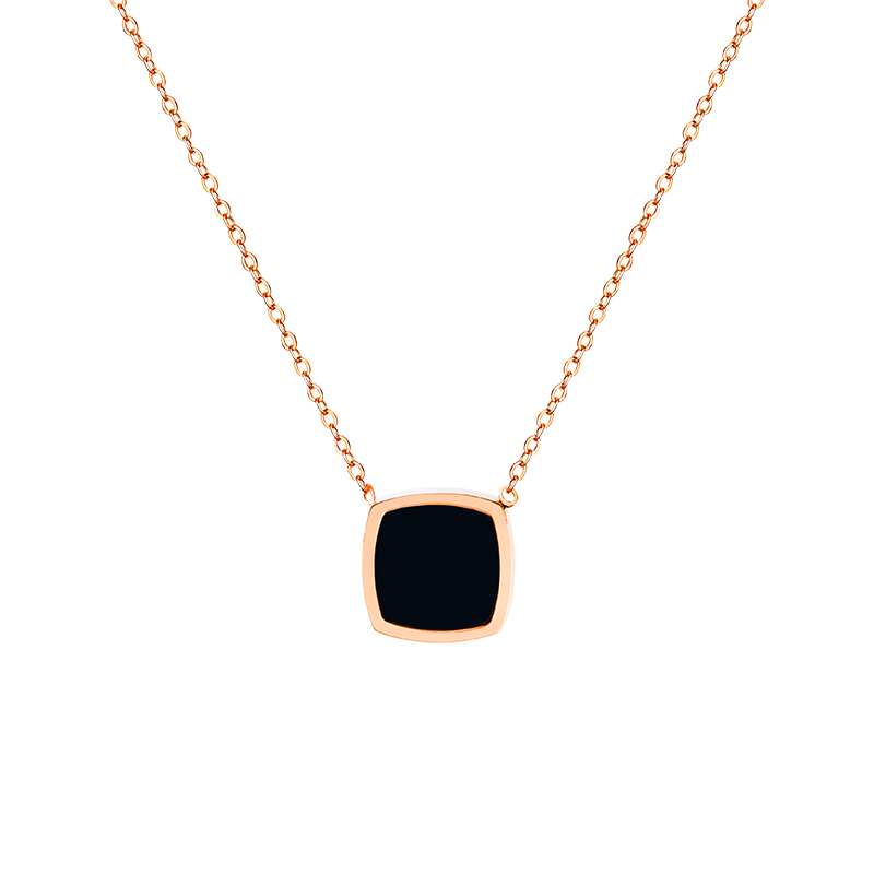 YUN RUO Fashion Black Square Pendant Necklace Woman Stainless Steel Jewelry Gift Rose Gold Silver Color Never Fade Drop Shipping