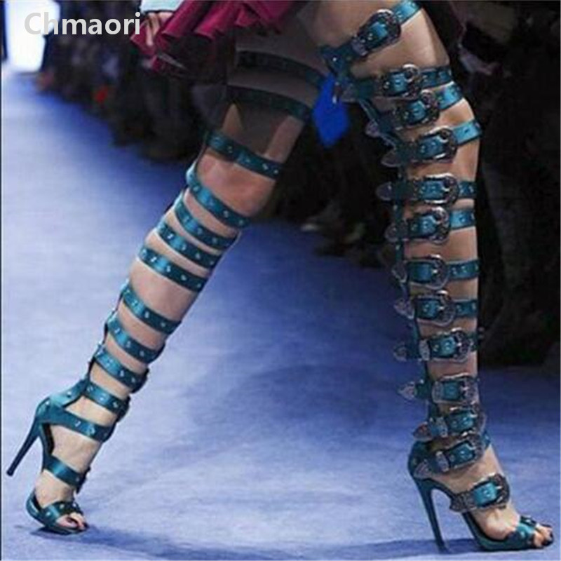 2017Hot sale Women Fashion Open Toe Buckle Design Over-The-Knee Long Boots Cut-out Luxury High Heel Sandal Boots Party Shoes spring new fashion women open toe suede leather cut out high heel ankle boots buckle design gladiator boots sandal boots