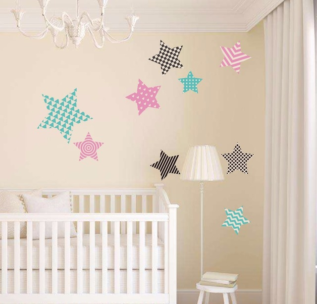 9 Style Star With Different Pattern Wall Sticker Baby