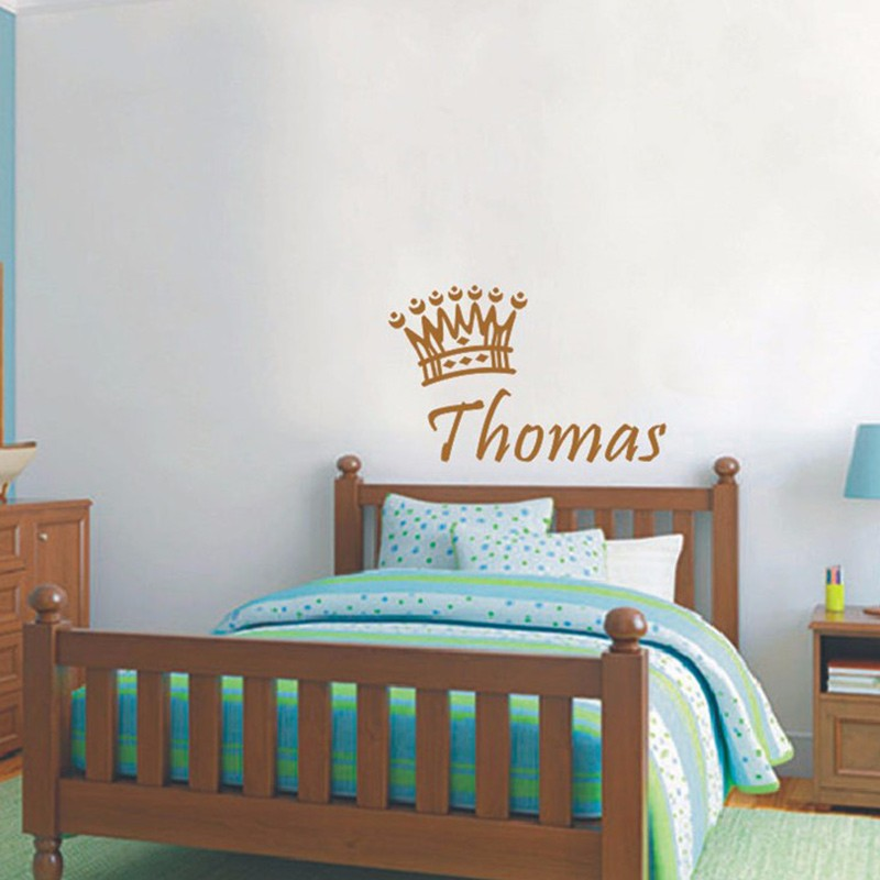 new baby boys name custom wall stickers baby exclusive poster crown vinyl decals baby