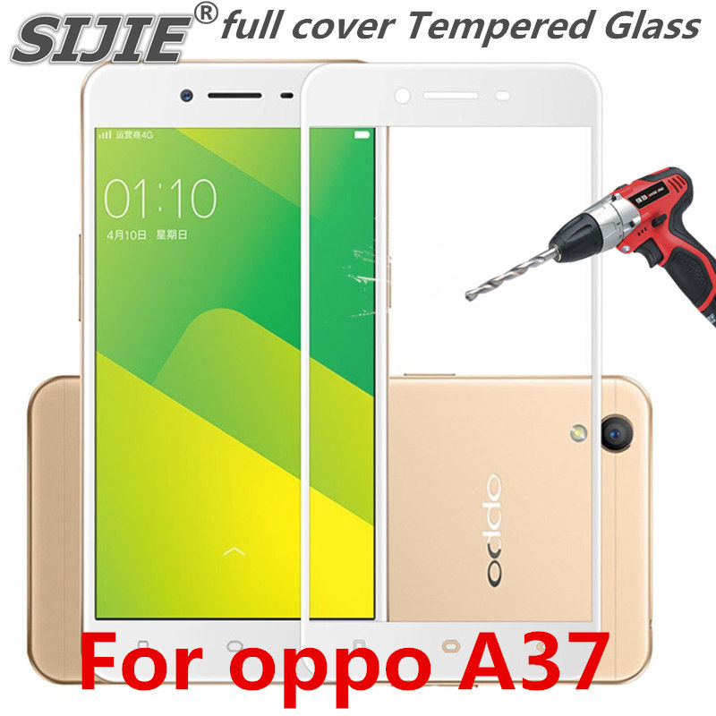 full cover Tempered Glass For oppo A37 A37M A 37 oppoA37 Screen protective phone toughened case covers 9H on frame all edges in Phone Screen Protectors from Cellphones Telecommunications