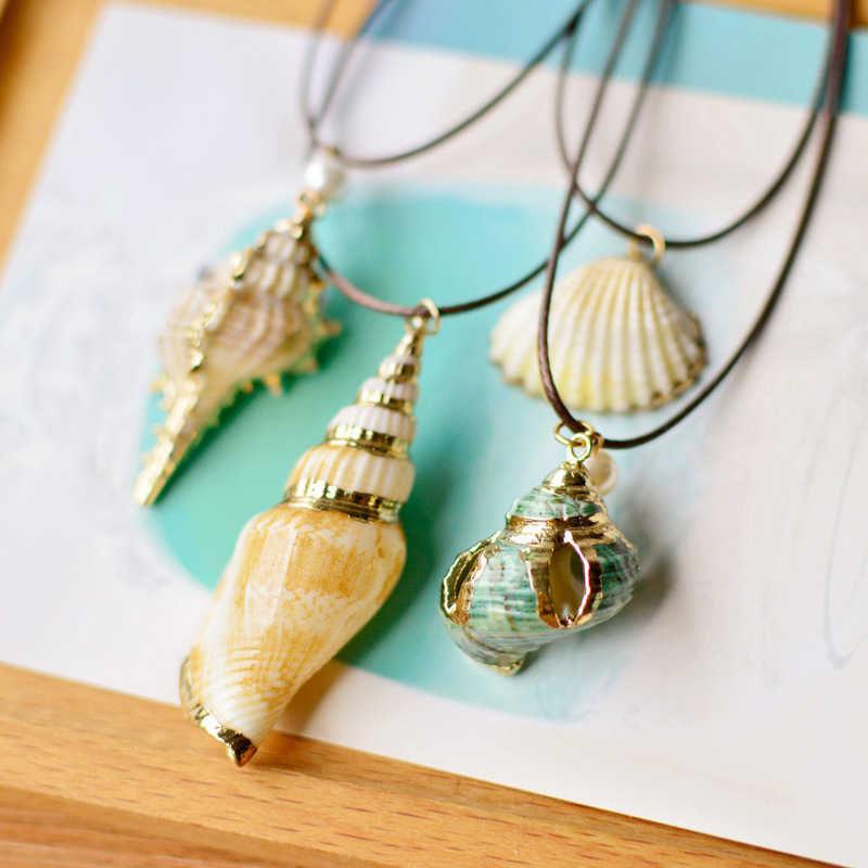 Handamde Inlaid Gold Color Metal Long Rope Chain Conch Natural Sea Snail Whelk Shell Necklace GirlFriend Gifts