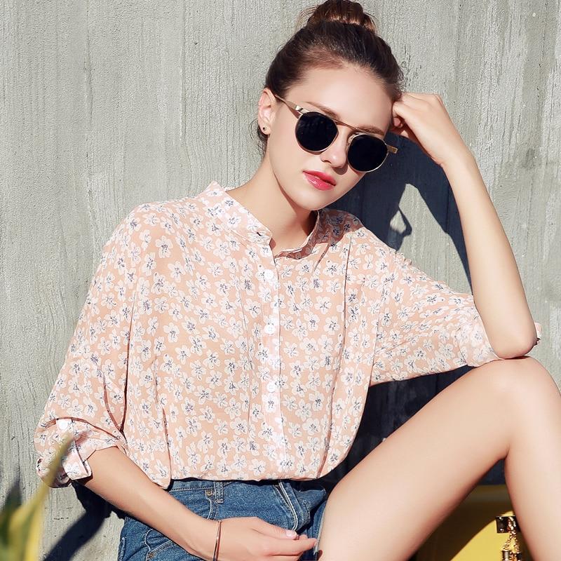 2017 New Fashion Printed Designs Half Sleeve Chiffon font b Blouse b font For font b