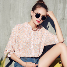 2017 New Fashion Printed Designs Half Sleeve Chiffon Blouse For Women Tops Summer Vintage Shirts Blouse Shirt