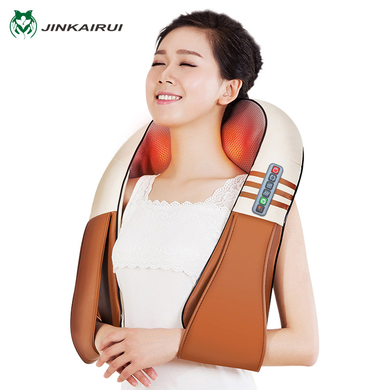 (Con caja de regalo) jinKaiRui forma eléctrica Shiatsu cuello espalda hombro cuerpo masajeador infrarrojo calienta amasar coche/casa Massagem