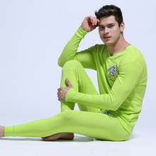 1 Set Men's long underwear cotton Wolf printed men comfortsoft long johns thermal underwear tops & pants casual underwear