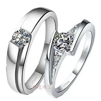 0.25ct לדמות טבעות יהלומים פשוט אישיות טבעות זוגות אופנה 925 טבעות זוג כסף סטרלינג טבעות נישואים