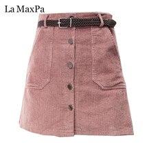 2019 Spring Autumn Corduroy Skirt Ladies Fashion High Waist Skirts