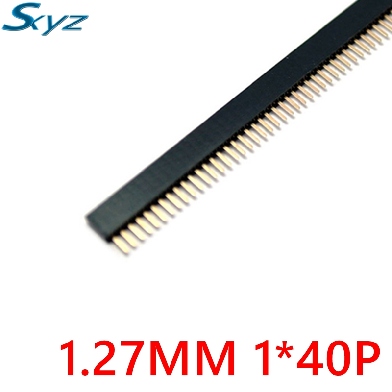 10PCS Pitch 1.27mm 40 Pin Stright Female Single Row Pin Header Strip PCB Connector 2 pcs new 2 54mm pitch 2x20 pin 40 pin female double row long pin header strip pc104 page 4