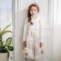 Dziewczyna Floral Z Długim Rękawem Jesień Zima Wedding Party Dress Mesh Dzieci Sukienka Dzieci Odzież Dla Nastolatek Wiek 4-12, czarny/Biały