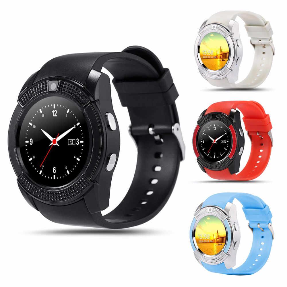 Pria Olahraga Smart Watch V8 SIM Kartu Kamera Android Bulat Panggilan Panggil Panggilan Smartwatch Denyut Jantung Kebugaran Tracker