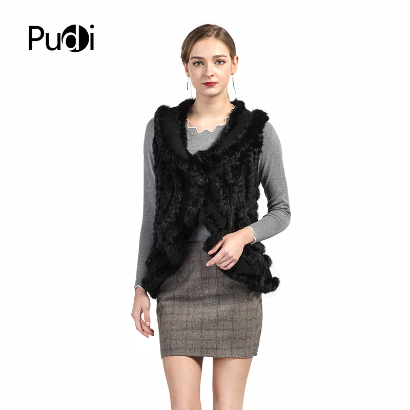 VT7016 The new women's vests Knitted vest sleeveless garment underwaist sleeveless sweater gilet with real rabbit fur black