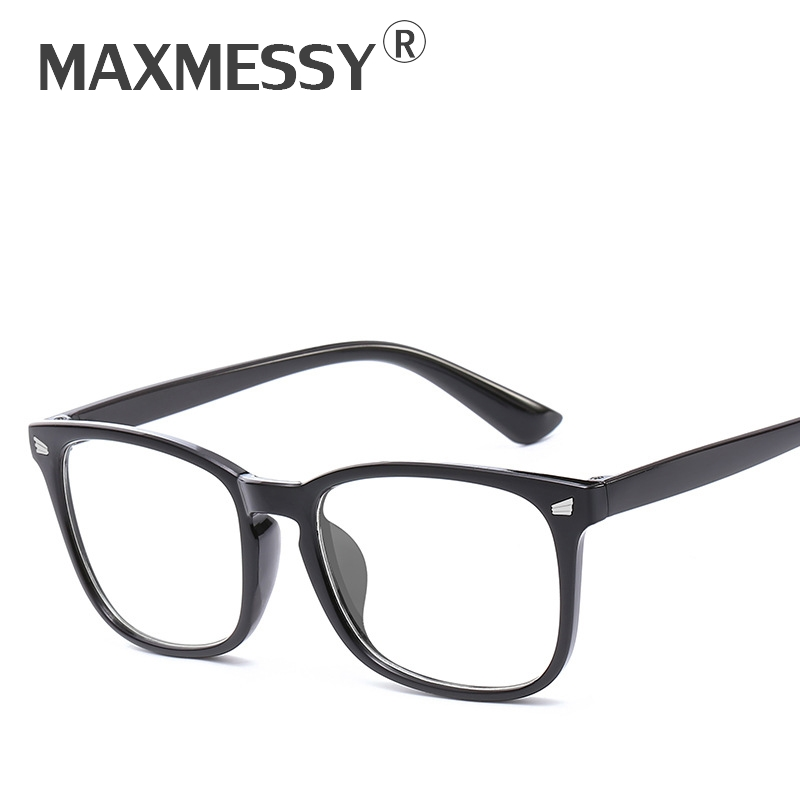 MAXMESSY Women New Anti Blue Rays Plain Glasses Men Classic Optical Computer Gaming Goggles Square Eyeglasses Frames Oculos F059