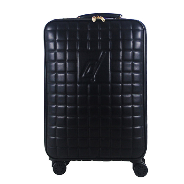 6c47c5220 High Quality 16 20 24 INCH PU Leather Grid Luggage Bag Business Trolley  Case Men's Travel