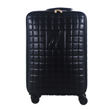 High Quality 16 20 24 INCH PU Leather Grid Luggage Bag Business Trolley Case Men's Travel Suitcase  wheel rolling Computer Bags
