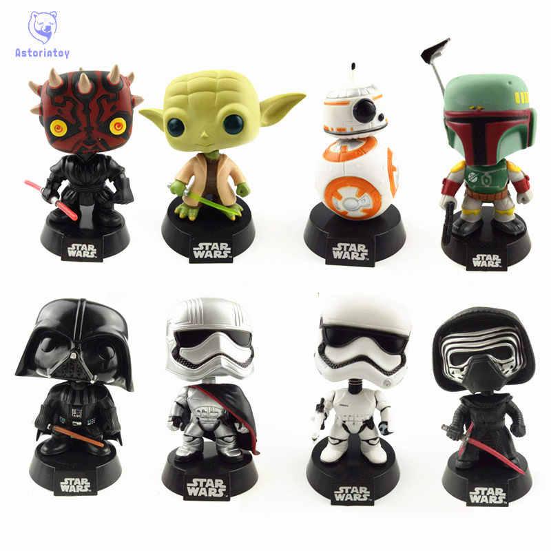 Baru 10 Cm Star Wars BB-8 Boba Fett Yoda Darth Vader Kapten Phasma Action Figure Bobble Kepala Q Edition Tidak Ada kotak untuk Mobil Dekorasi