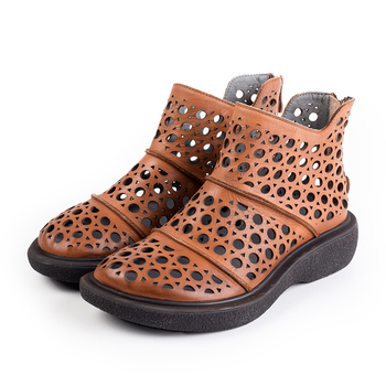 Women Genuine Leather Boots Woman Summer Shoes Flat Heels Zipper Large Size Black Brown With Hole 2019 New Fashion Free Shipping