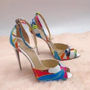 Image 1 - Tamanho 34 45 couro genuíno dedo do pé aberto duas peças tornozelo cinta doce borboleta impressão stiletto salto alto sandálias femininas sapatos