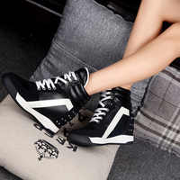 2019 haut à la mode plate-forme baskets femmes respirant en cuir Rivet chaussures Tenis Feminino caché chaussures à semelles compensées Chaussure Femme