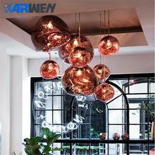 KARWEN Новинка стеклянная Лава подвесной светильник светодиодный стеклянный подвесная люстра в форме шара E27 креативная спальня