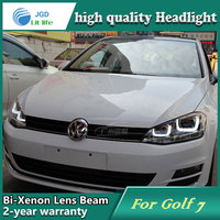 Car Styling Head Lamp Case For VW Golf 7 2014 Headlights LED Headlight DRL Lens Double