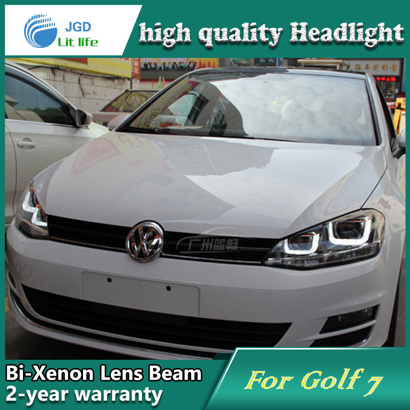 Car Styling Head Lamp case for VW Golf 7 2014 Headlights Golf7 MK7 LED Headlight DRL Lens Double Beam Bi-Xenon HID Accessories hireno headlamp for 2016 hyundai elantra headlight assembly led drl angel lens double beam hid xenon 2pcs