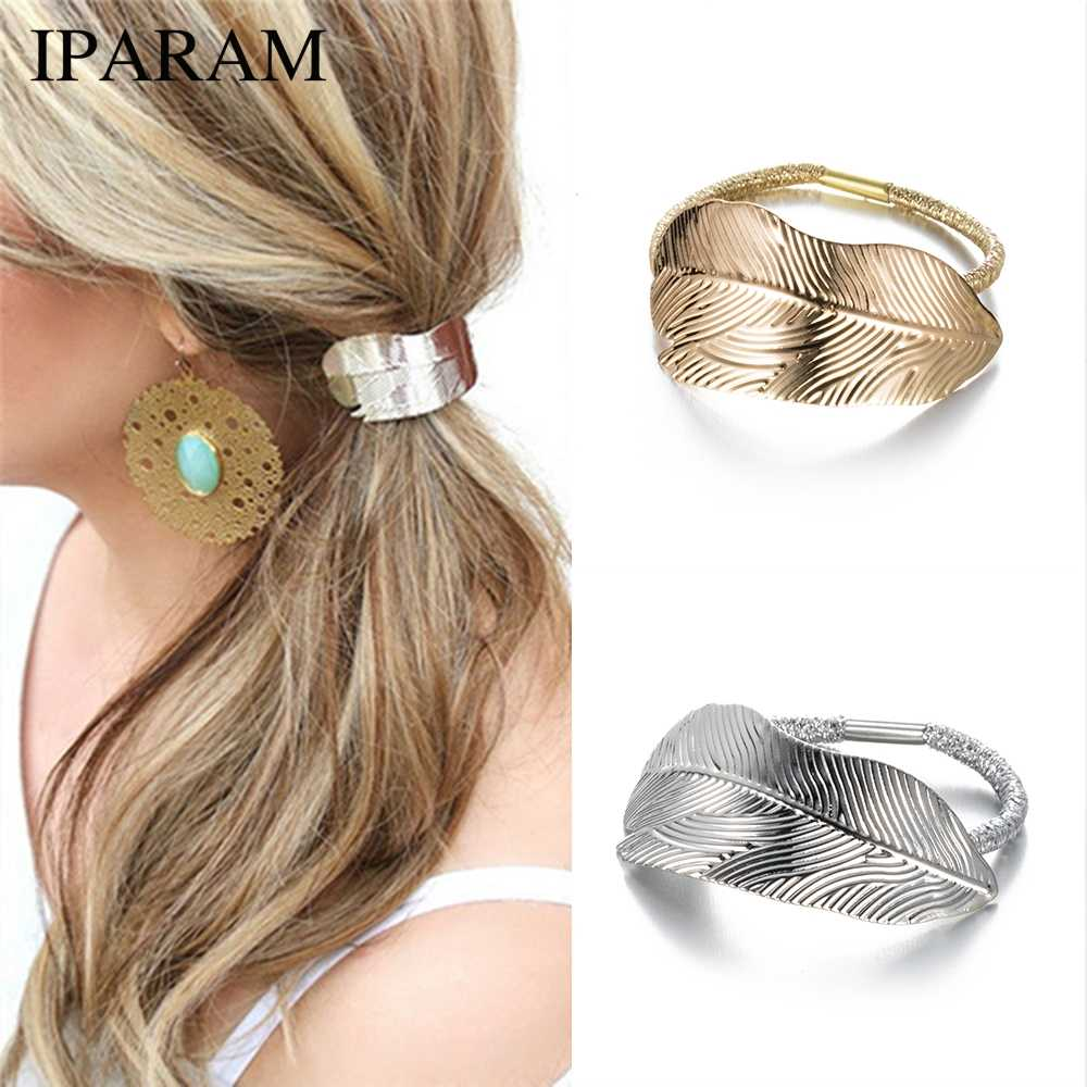 IPARAM 2020 Fashion Hot Woman Leaf Hairband Rope With Elastic Ponytail Party Holiday Hairband Hair Accessories