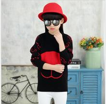 Thickening Cartoon  Threaded sleeve Pullover Knitted Clothes Sweet Princess Style  Character Cute Costume For Girl S088