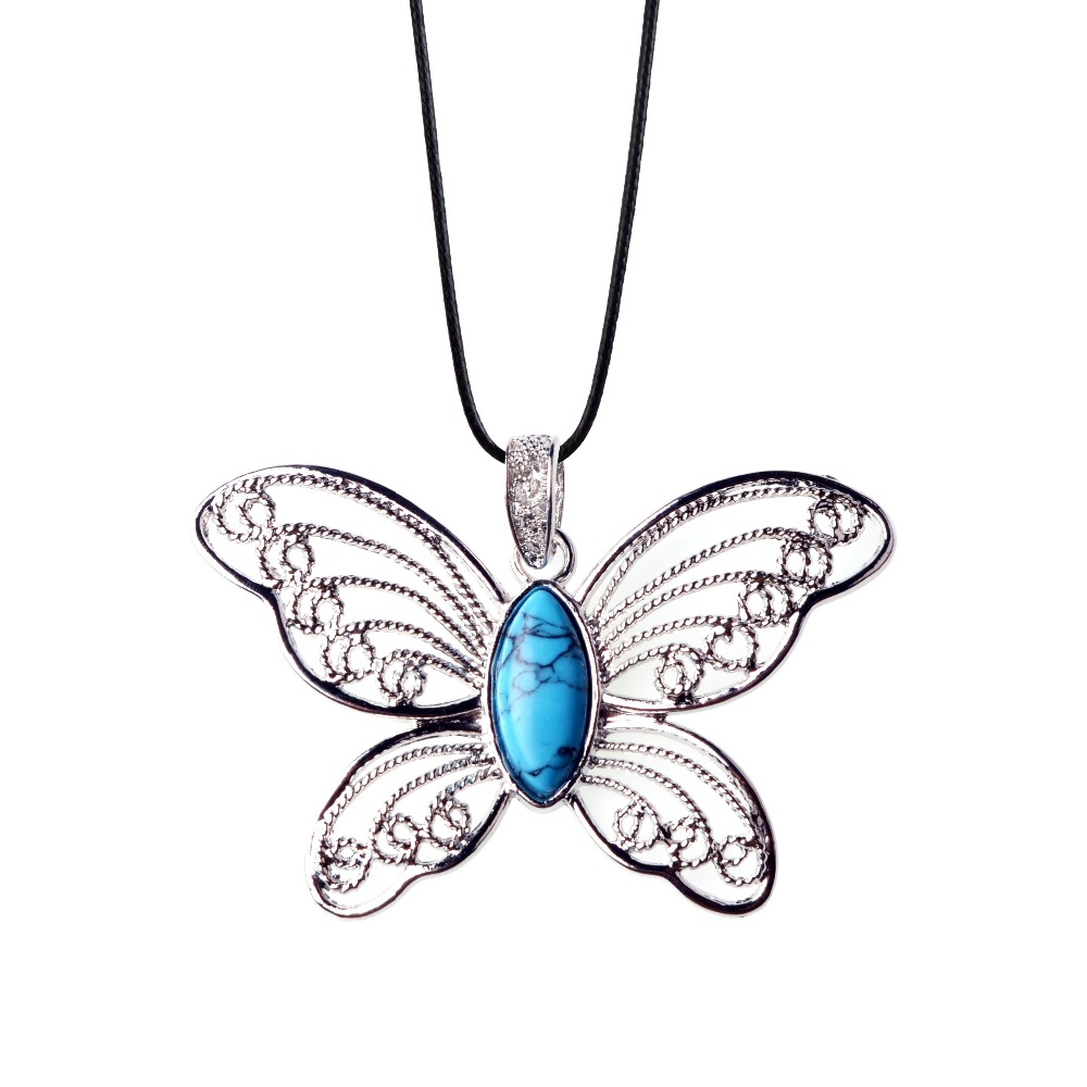 Vintage Jewelry Women Butterfly Necklaces Blue Pink Natural Gem Kalung Wanita Simpel Stainless Steel 316l 015 Stone Quartz Leather Necklace Maxi Collier In Pendants From Accessories On
