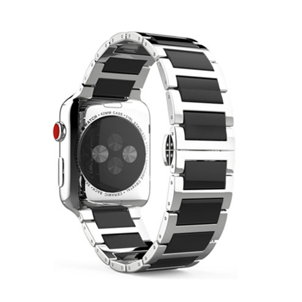 OSRUI Stainless Steel Strap For Apple watch band 42mm 38mm iWatch Series 3/2/1 Ceramic wrist bands Link Bracelet belt correa