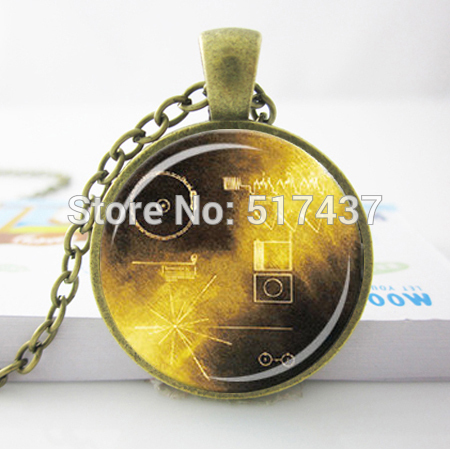 HZ A70 Messages From Earth Pendant Necklace Yellow Brown Astronomy Jewelry NASA Space Voyager font b