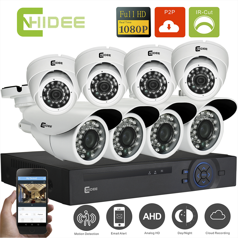 CNHIDEE Home Security Camera System NightVision AHD 8CH 1080P IR 2000TVL DVR KIT Video KIT Surveillance System 8CH Indoor SET -  cnhidee home security camera system nightvision ahd 8ch 720p ir 1200tvl dvr hd kit video surveillance system 8ch outdoor kit set