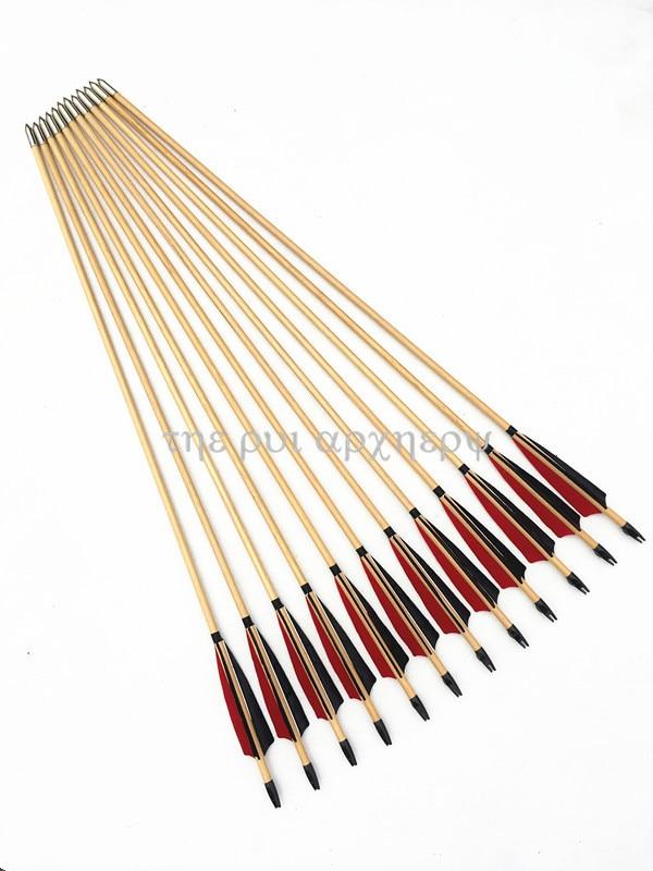 6/12/24pcs Wooden Arrows Traditional Handmade 5
